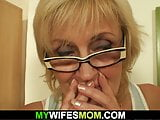 Son in law fucks old girlfriends mother on the table