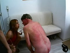 slaves get spanked at german femdom house party