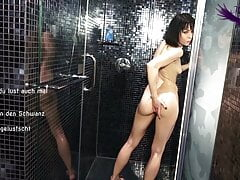 German Slutty Girl Rubs Her Naked Body With Oil In Shower
