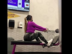Thick Asian Girl Gym VPL(Tread Mill and Back Row Footage)