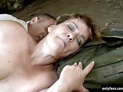 Mature woman fucked in cave